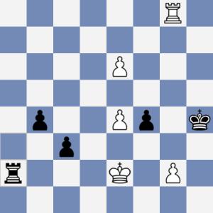 Folwarczný-Gerych. Bílý chybovyl a ustoupil Kd1 místo správného Kf3. Pozice se v zápisu partie vůbec nevyskytuje :-)