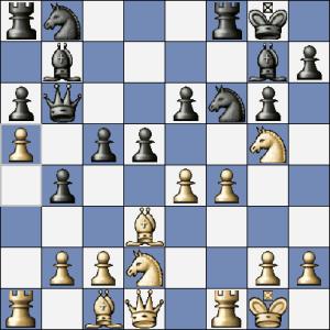 """Po 14.a5 se měl černý spokojit s pasívnější pozicí a ustoupit 14. ... Da7. Místo toho ustoupil """"aktivně"""" na c6..."""