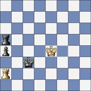 (pozice z pohledu černého) Je to až směšně jednoduché! Černý na tahu zahraje Va4 a bílý nemůže vzít ph5. Pak už se pěšec rozeběhne do dámy a bílý král zůstane odřezán.