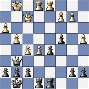 """Mohlo přijít 24. ... Dh6 25.Kh2 Dc6 s přibližnou rovnováhou. Místo toho páchám """"sepuku"""".... 24. ... Dg5"""