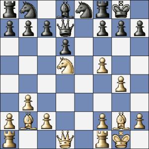 """V této pozici zahrál černý """"chybně"""" 14. ...c6. Dovolím si tento tah zkritizovat... Správné bylo 14. ... Dc8! a na hodnocení pozice se nic nemění, ale černý je připraven na Chess960"""