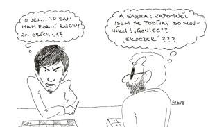 Pro Kamila byl zřejmě nezvyk tahat si sám všechny tahy, ale Jarek si je tahá v každé partii :-)
