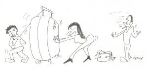 Ania si přivezla kufr se ČTYŘMI kolečky a striktně nám zakázala táhnout ho po dvou :-)