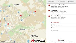 Mapa dojezdu k restauraci Tesarčík (z kruhového objezdu u Kauflandu)