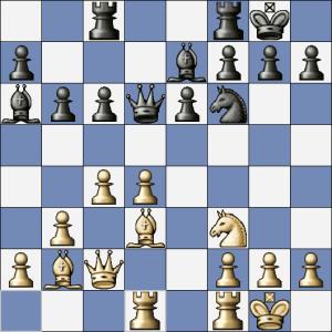 Po Sb7 by byla partie v rovnováze, černý ale provedl výpad dámou a zahrál Df4