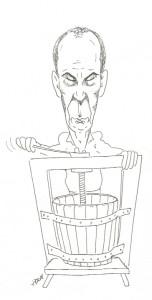 """Mírně zasmušilý """"vinař"""" vymačkává z havířovských hroznů poslední zbytky šťávy :-)"""